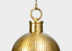 gold hammered metal pendant light