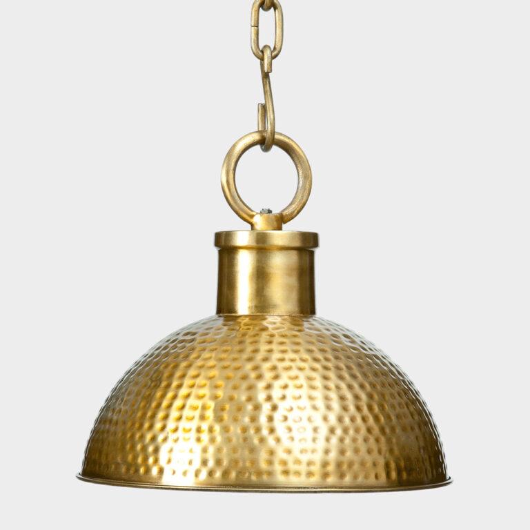 gold hammered metal pendant light