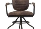grey top grain leather office chair