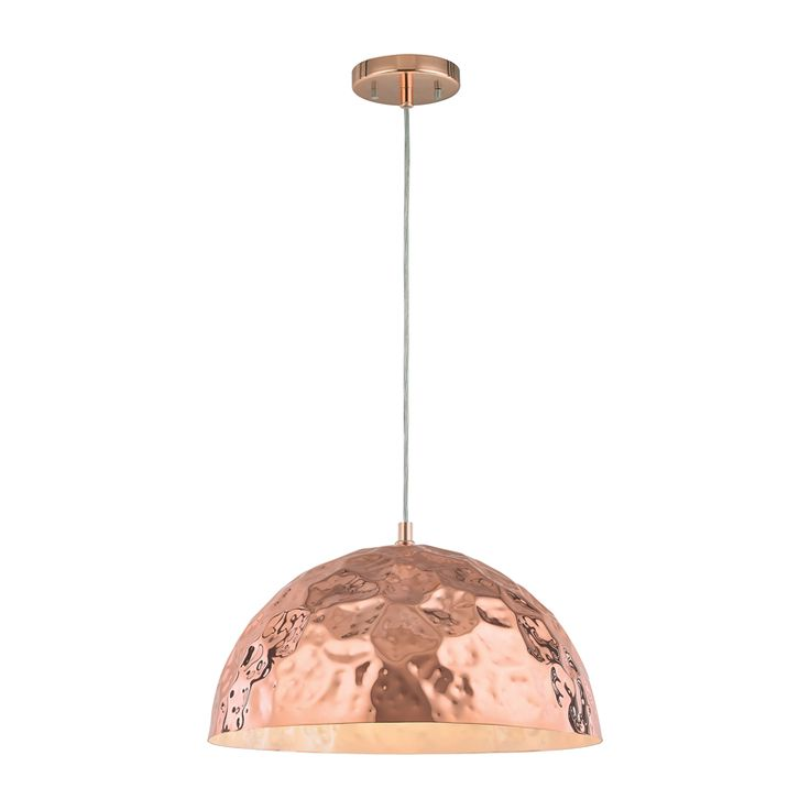 half round copper hammered metal pendant light