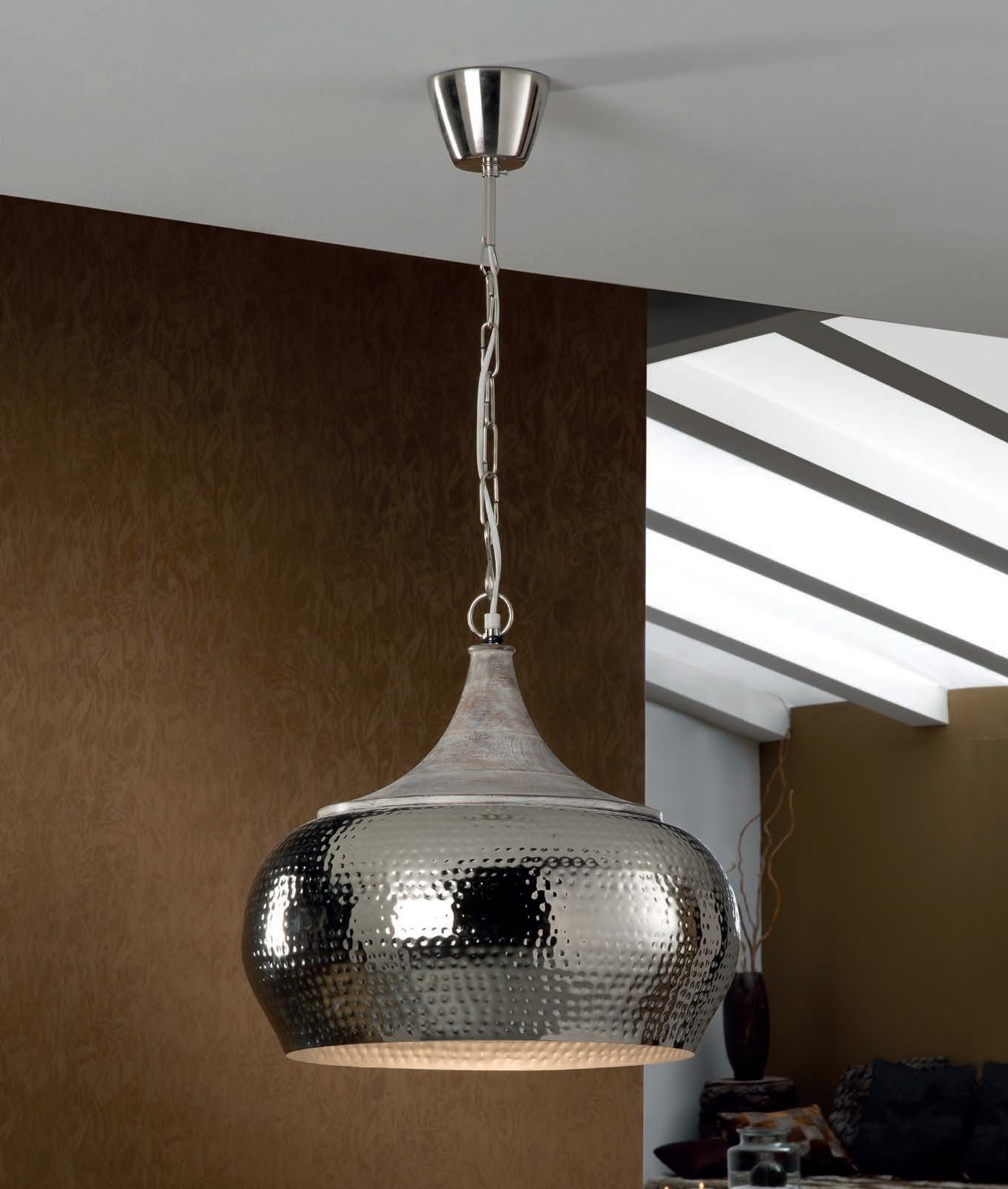hammered metal pendant light uk