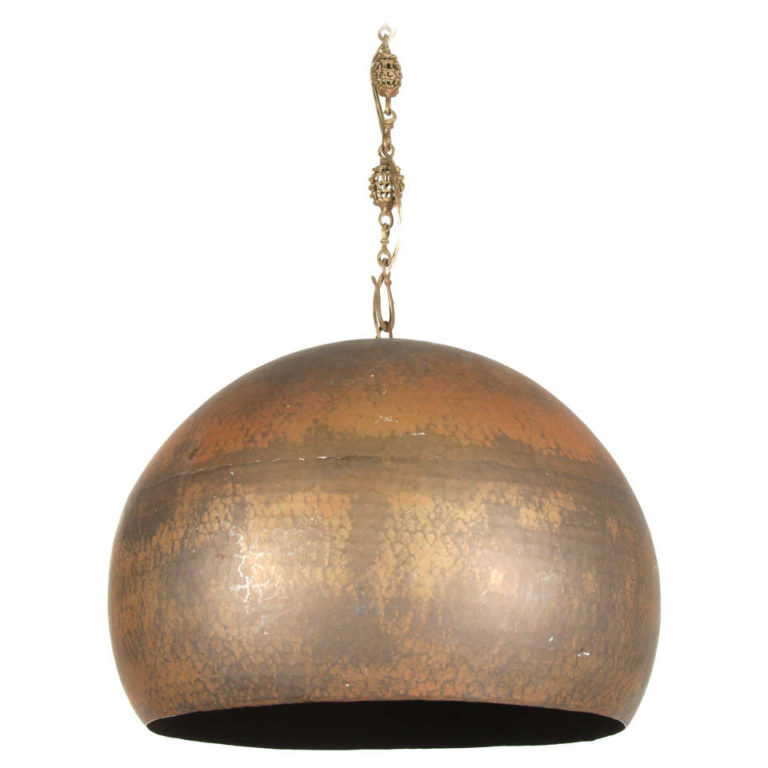heavy half round hammered metal pendant light