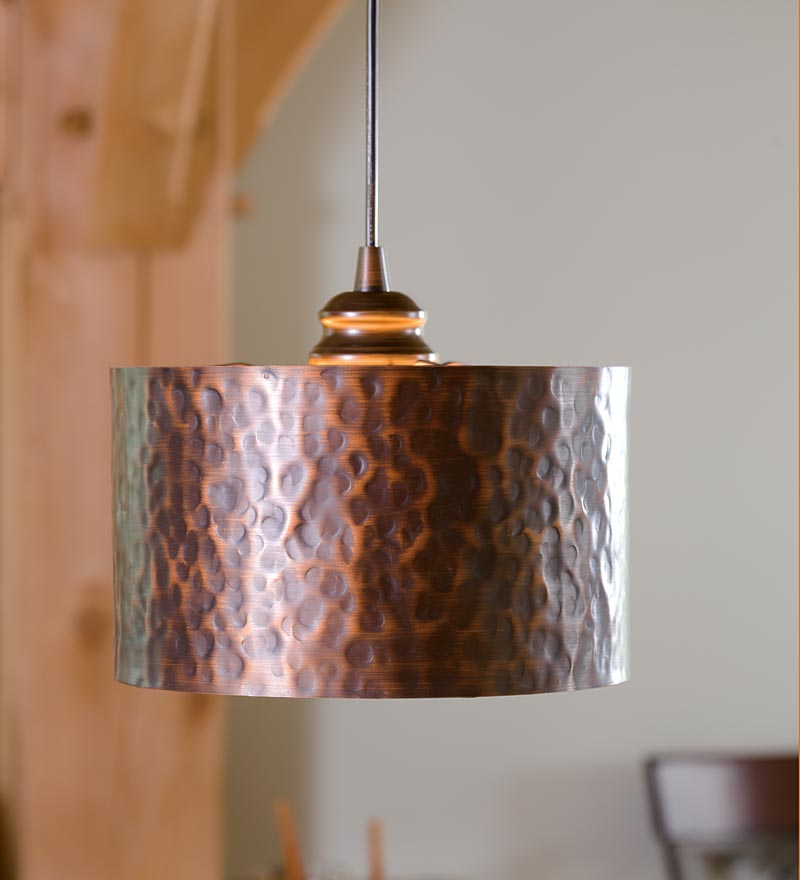 heavy hammered metal pendant light
