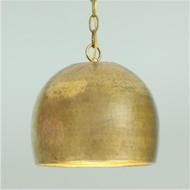 large gold hammered metal pendant light