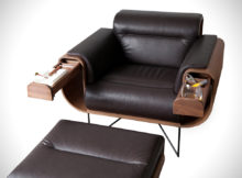 leather smoking chair with ottoman