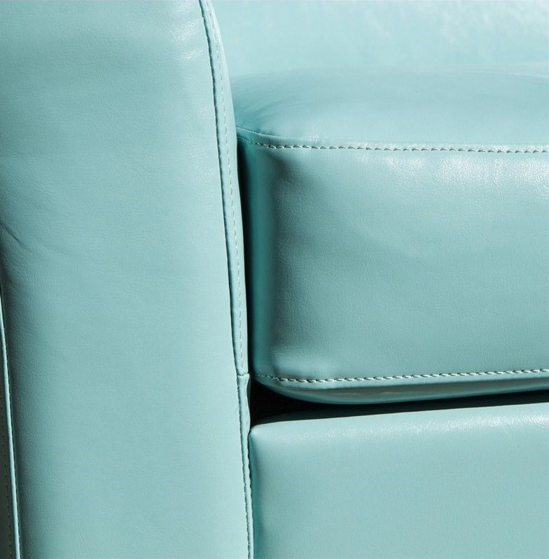 light teal blue leather club chair