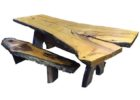 live edge dining table for sale with bench