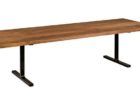 long rectangular wrought iron coffee table with wood top