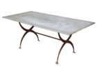 long zinc top round dining table