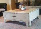 low modern white distressed wood coffee table