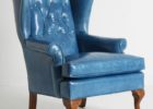 luxury light tufted blue leather club chair