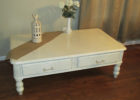 modern white distressed wood coffee table with drawers