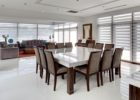 modern white extra long dining table seats 12