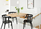 narrow dining tables with leaves and black chairs
