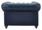 navy blue leather club chair with tufted