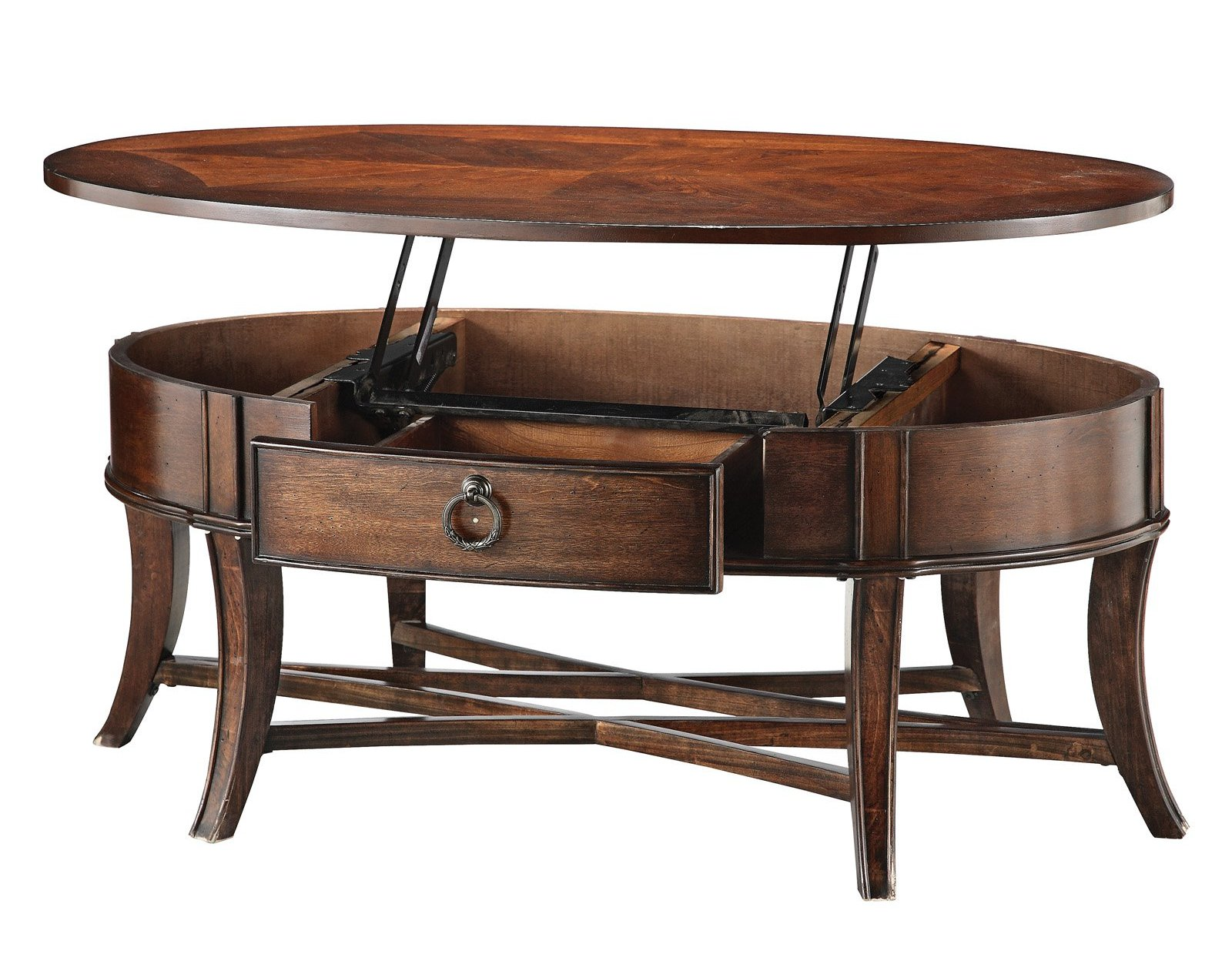 Oval Solid Wood Lift Top Coffee Table With Drawers