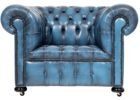 oversized navy blue leather club chair