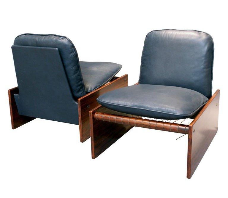 ovesized dark blue leather club chair