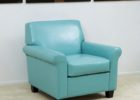 ovesized teal light blue leather club chair