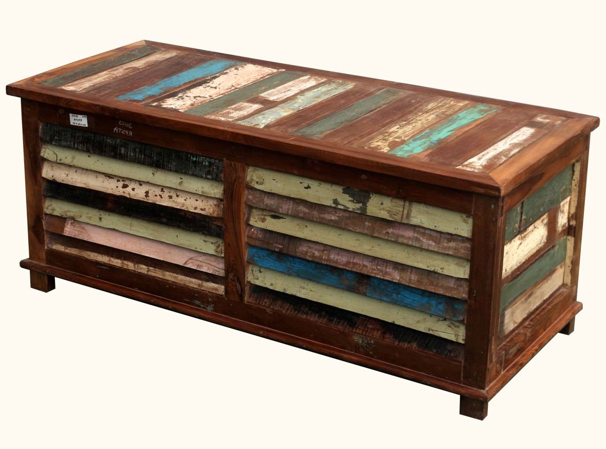pallet dark wood chest coffee table