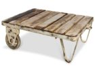 pallet white distressed wood coffee table with wheels