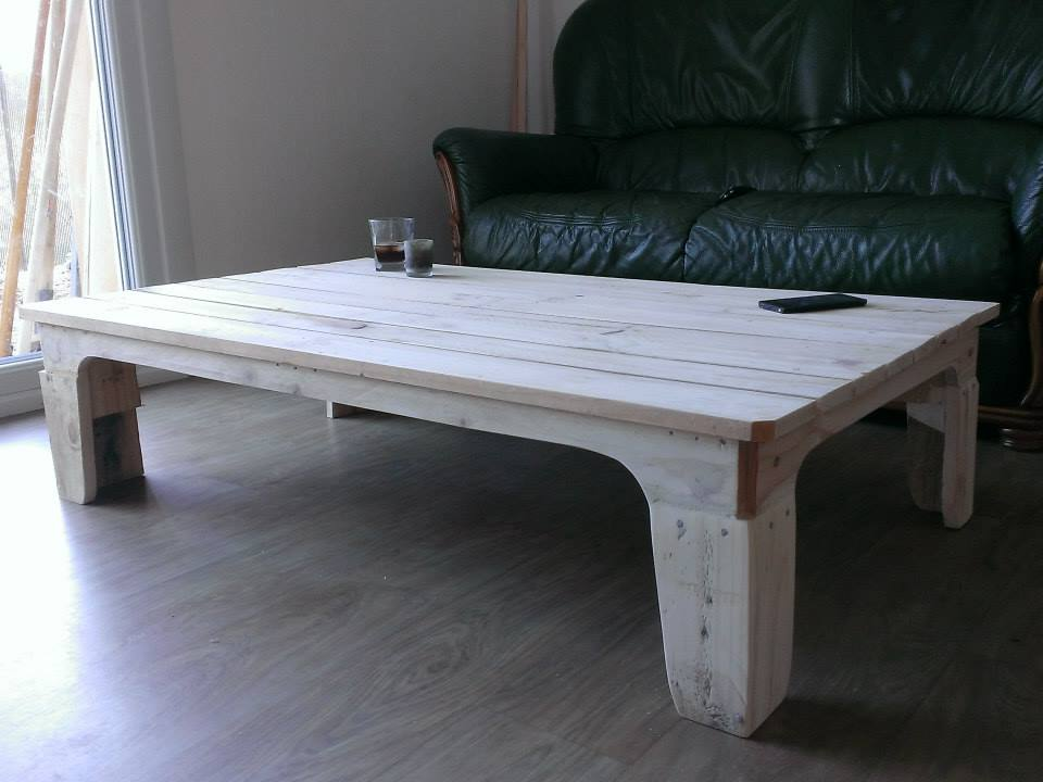 reclaimed pallet white distressed wood coffee table