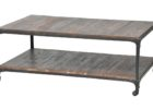 reclaimed wrought iron coffee table with wood top with storage