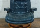recliner navy blue leather club chair