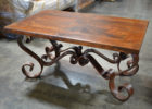 rectangular wrought iron coffee table with wood top