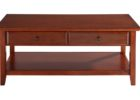 red cherry wood coffee table with drawers