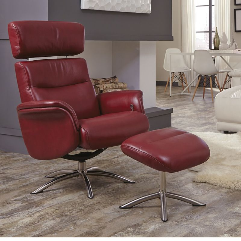 red top grain leather office chair with ottoman