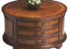 round cherry wood coffee table with drawers