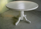 round white distressed wood coffee table