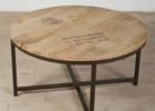 round wrought iron coffee table with wood top
