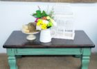 rustic distressed dark wood coffee table design