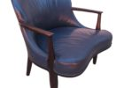 rustic navy blue leather club chair