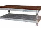 rustic white distressed wood coffee table