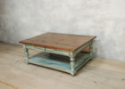 rustic white distressed wood coffee table with drawer
