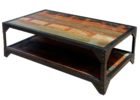 rustic wrought iron coffee table with wood top