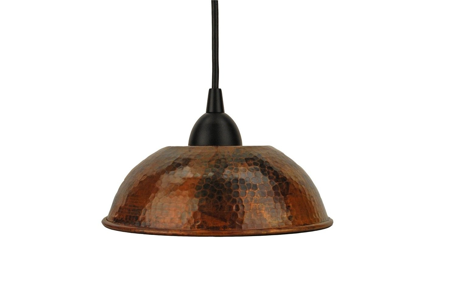 small copper hammered metal pendant light