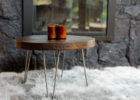 small round barn wood coffee table for sale