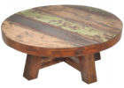 small round reclaimed distressed dark wood coffee table