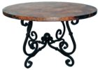 small round wrought iron coffee table with wood top