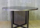 small round zinc top round dining table with metal legs