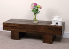 solid dark wood chest coffee table
