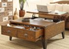 solid wood lift top coffee table with drawers