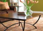 square wrought iron coffee table with wood top