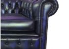 tufted navy blue leather club chair