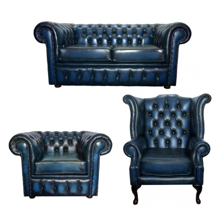 tufted navy blue leather club chair furniture set