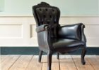 vintage black tufted leather smoking chair